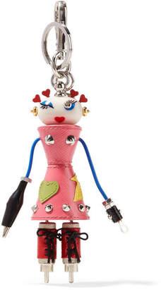Prada Nana Embellished Textured-leather Keychain - Pink