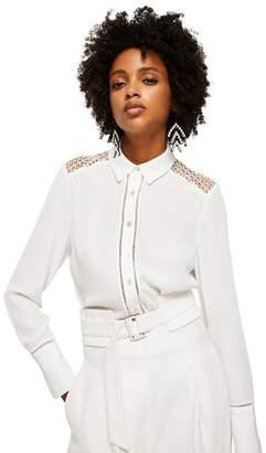 MANGO White 'Elefant' Shoulder Detail Shirt