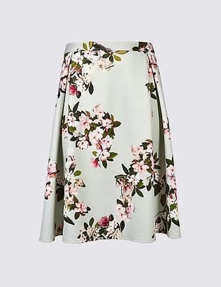 M&S Collection CURVE Floral Print Scuba A-Line Midi Skirt