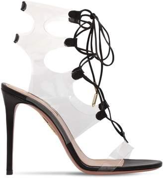 Aquazzura 105mm Milos Leather & Plexi Sandals