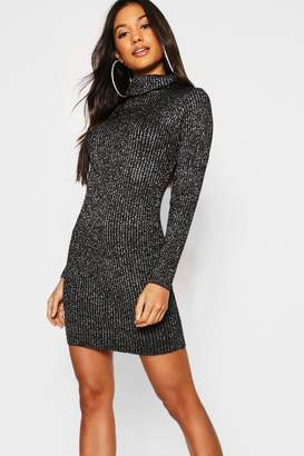 boohoo Metallic Rib Knit Roll Neck Jumper Dress 8ffdb2bb3