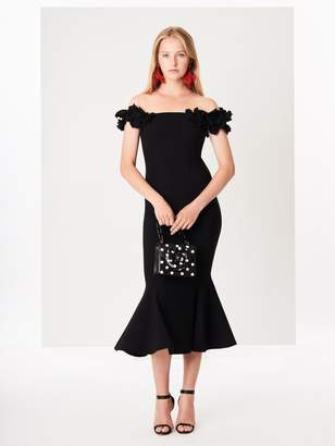 Oscar de la Renta Floral-Embroidered Double-Face Stretch-Wool Cocktail Dress