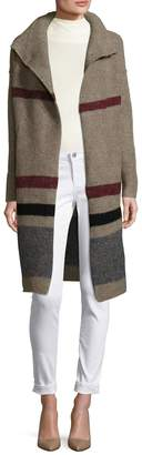 James Perse Women's Wool Belted Stripe Coat