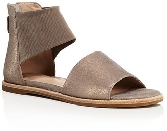 Eileen Fisher Metallic Suede and Mesh Ankle Strap Sandals $185 thestylecure.com