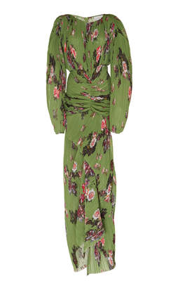 Preen by Thornton Bregazzi Ofira Ruched Floral-Print Plissé Maxi Dress