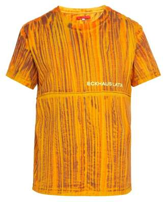 Eckhaus Latta Lapped Hand Dyed Cotton T Shirt - Mens - Orange