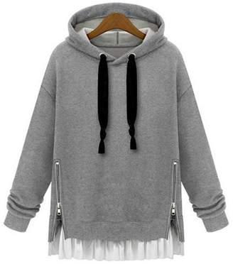 D-Sun Women Plus Size Hooded Sweater Hoodie Side Zipper Sweatshirt (XXL, )