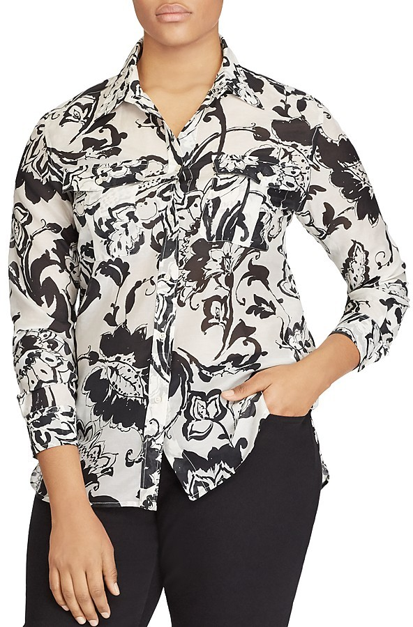 Lauren Ralph Lauren Lauren Ralph Lauren Plus Leaf Print Button Down Shirt