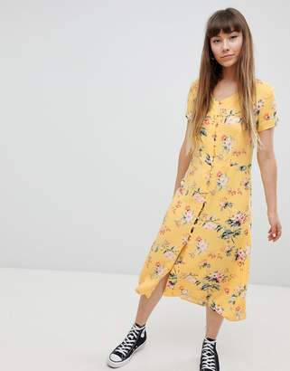 New Look Button Front Tea Midi Dress