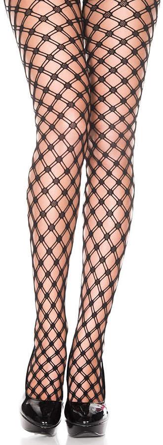 Black Diamond-Knit Pantyhose - Women
