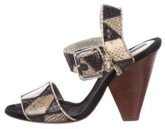 Dolce & Gabbana Snakeskin Ankle Strap Sandals
