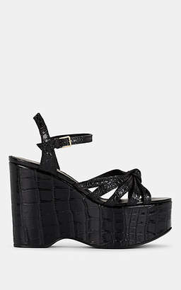 Burberry Women's Margate Stamped Leather Platform-Wedge Sandals - Black