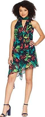 Maggy London Women's Hot Tropics Chiffon Cocktail Dress with Asymmetrical Hem