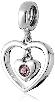 Swarovski Chamilia Sterling Silver and Crystal Radiant Heart Bead Charm