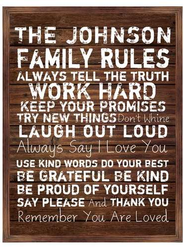 PTM Personalized Family Rules Framed Textual Art
