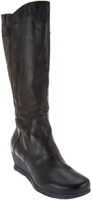 Miz Mooz Tall Leather Wedge Boots with Side Zip - Marybeth