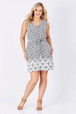 Hatley NEW Womens Knee Length Dresses Split Neck Dress WhiNavy