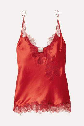 Carine Gilson Chantilly Lace-trimmed Silk-satin Camisole - Red
