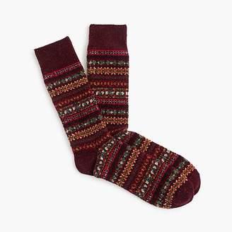 J.Crew Burgundy Fair Isle wool socks