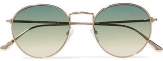 Tom Ford Round-frame Rose Gold-tone Sunglasses - Blue