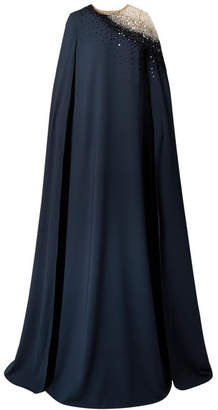 Oscar de la Renta Cape-effect Embellished Tulle And Silk-blend Gown - Navy