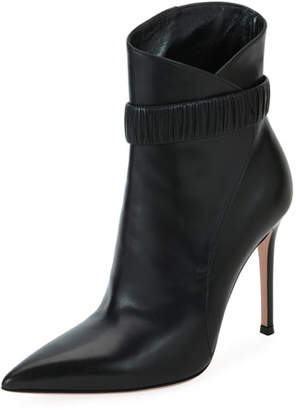 Gianvito Rossi Gathered Smooth Leather Booties