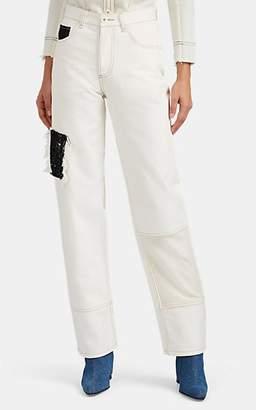 LE KILT Women's Patchwork Straight Jeans - Ecru