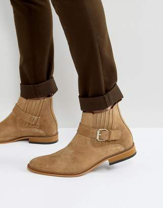 House of Hounds House Of Hounds Adrian Suede Buckle Boots In Tan