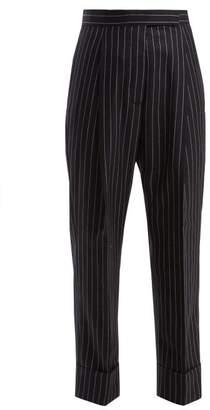 Thom Browne Pinstripe Wool Twill Trousers - Womens - Navy White