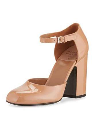 Laurence Dacade Mindy Patent d'Orsay Ankle-Wrap Pump, Nude $725 thestylecure.com