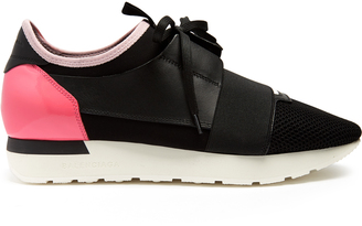 BALENCIAGA Race Runner panelled low-top trainers $695 thestylecure.com