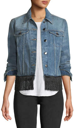 Frame Button-Front Denim Jacket w/ Fringe