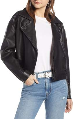 Something Navy Shrunken Leather Jacket