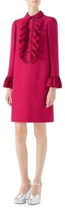 Gucci Plisse Ruffle Cady Crepe Dress