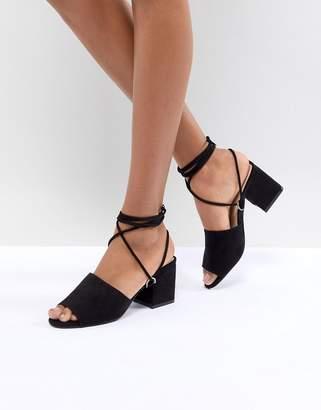 Public Desire Paddington Black Tie Up Block Heeled Sandals