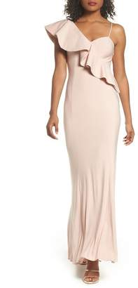 Xscape Evenings Ruffle Knit One-Shoulder Gown