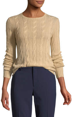 Ralph Lauren Long-Sleeve Cable-Knit Cashmere Sweater