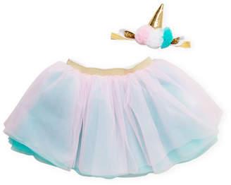 Popatu Newborn/Infant Girls) Two-Piece Unicorn Headband & Tutu Set