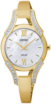 Seiko Modern Jewelry Womens Mother-of-Pearl Crystal-Accent Watch SUP216