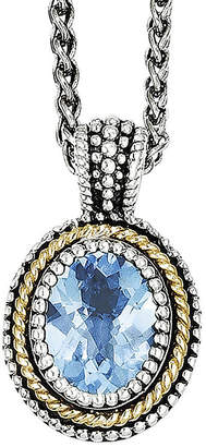 Couture FINE JEWELRY Shey Genuine Blue Topaz Sterling Silver and 14K Yellow Gold Oval Pendant Necklace