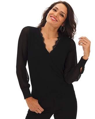 Moda In Pelle Oasis V Neck Sheer Sleeve Jumper
