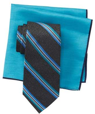 Ted Baker Melange Repp Stripe Tie & Pocket Square Set