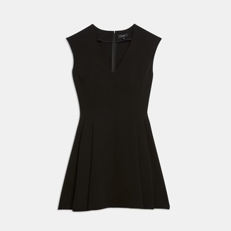 Classic Crepe Pleated Cap-Sleeve Dress