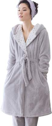 Mingxintech Womens Flannel Night-Robe Winter Warm Pajama Gown Set With Pants