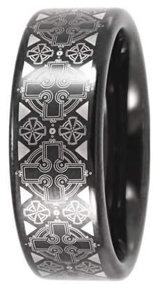 Celtic Unbranded Men's Cross Pattern Ring in Black Tungsten