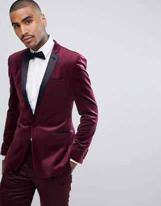 Asos Design Super Skinny Blazer In Burgundy Velvet