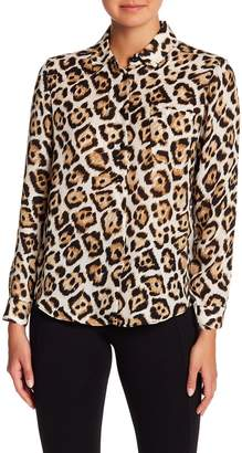 Philosophy Apparel Leopard Patterned Long Sleeve Button Down Shirt