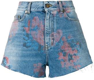 Saint Laurent floral print denim shorts