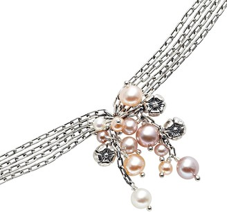Lyric Sterling Silver Freshwater Cultured Pearl & Diamond Accent Flower Cluster Multistrand Bracelet