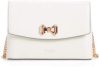 5c5267b455ec Ted Baker Curved Bow Flap Leather Crossbody Satchel